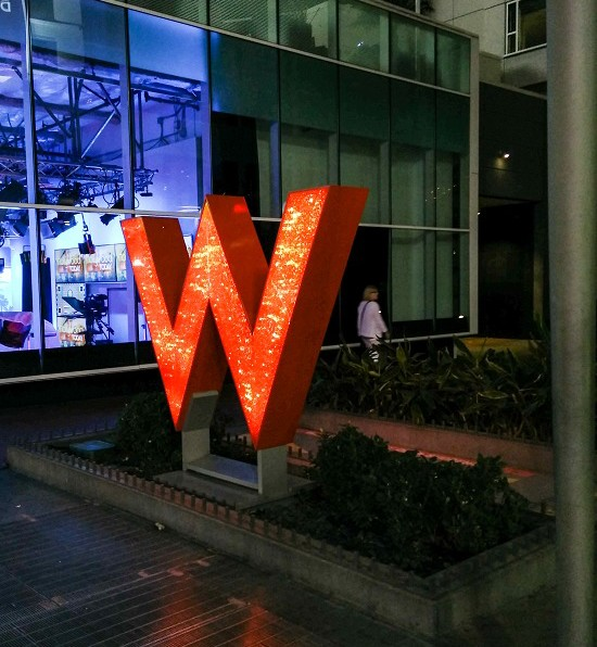 the lit up W of the W hotel