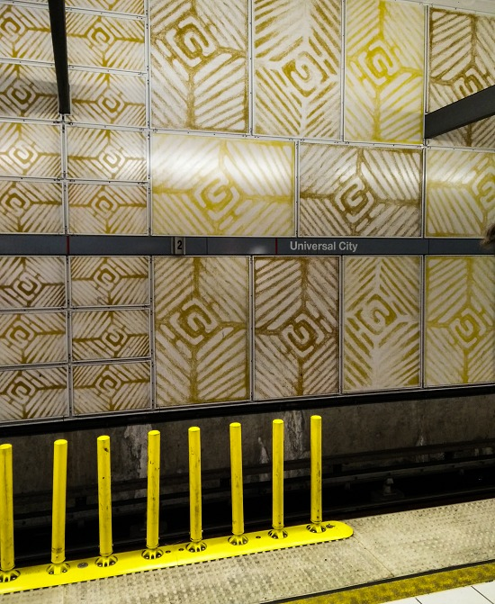 patterned walls in the universal city metro station