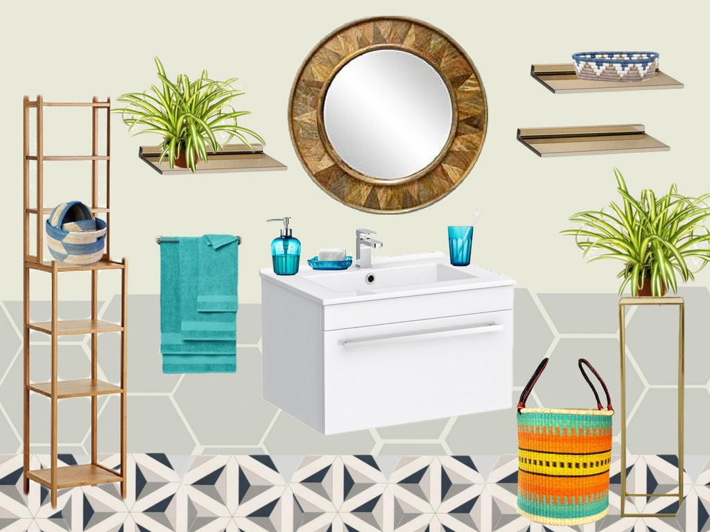 a colourful bathroom with geometric floor tiles, hexagonal wall tiles and blue accessories with gold furniture and accents