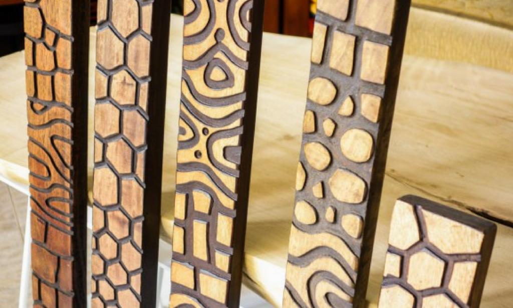 tribal decorative carved wood panels