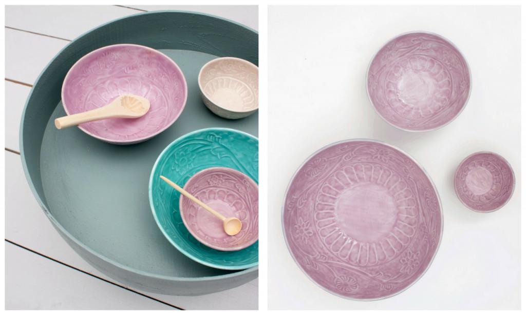 tribal aqua and lilac Indian bowls