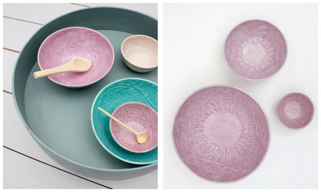 tribal aqua and lilac Indian bowls
