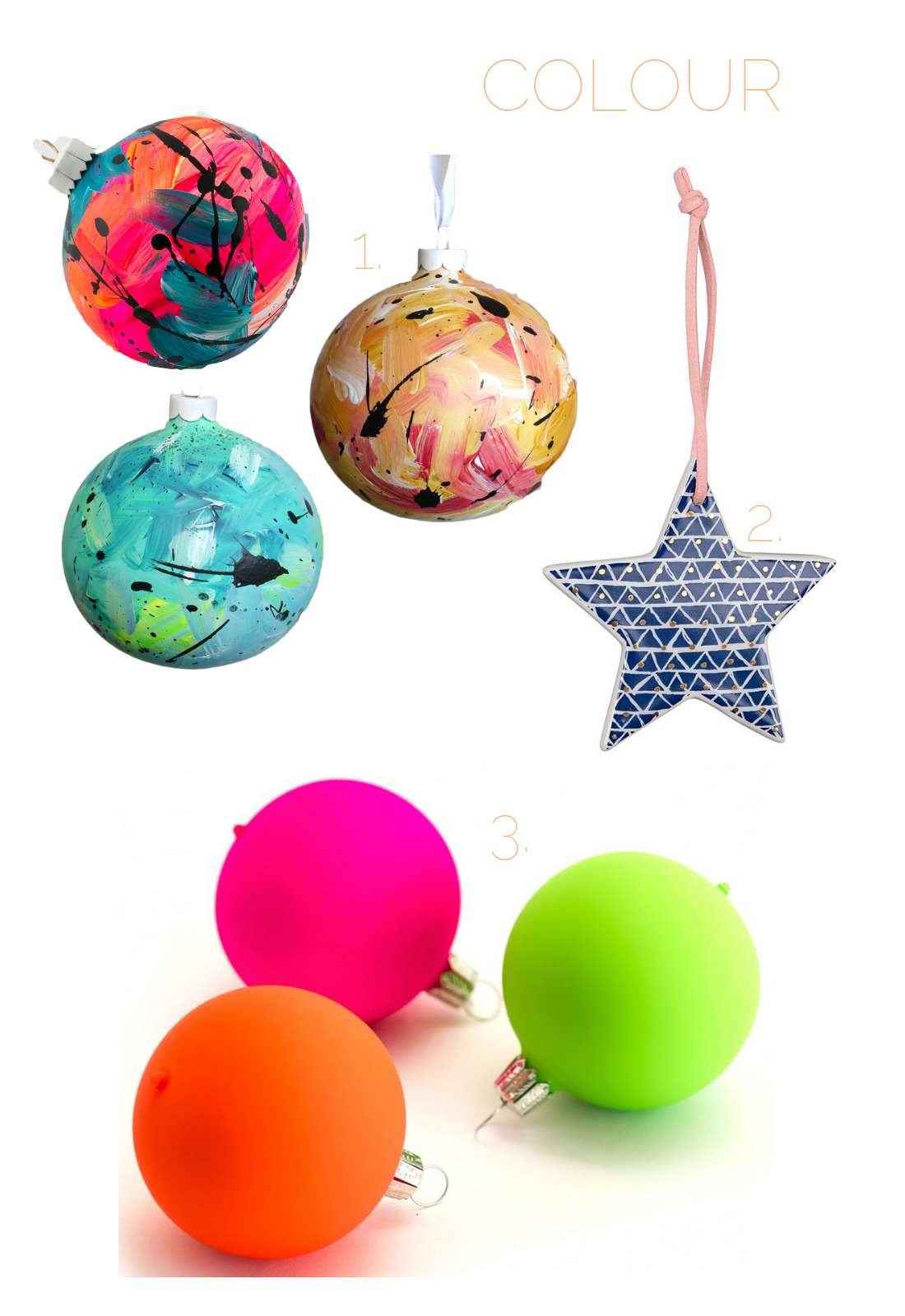 colourful Christmas decorations